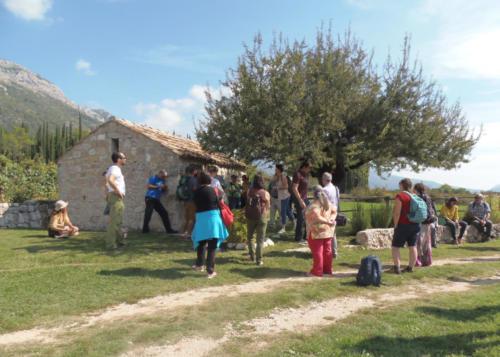 Devant un cabanon de vigne dans la vignoble de Konavle